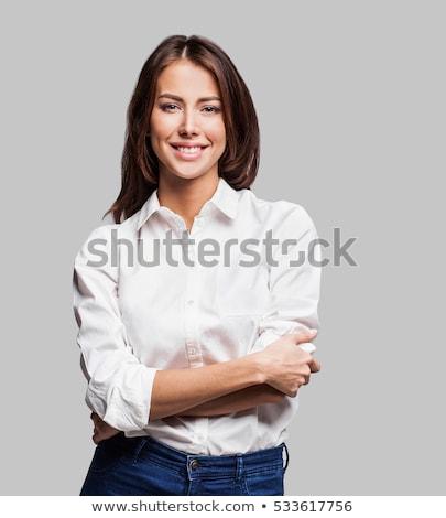 portret · vrouw · barbell · jonge · fitness - stockfoto © hasloo