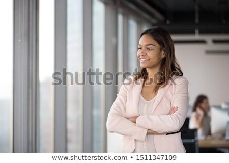 exitoso · mujer · de · negocios · escritorio · blanco · feliz - foto stock © hasloo