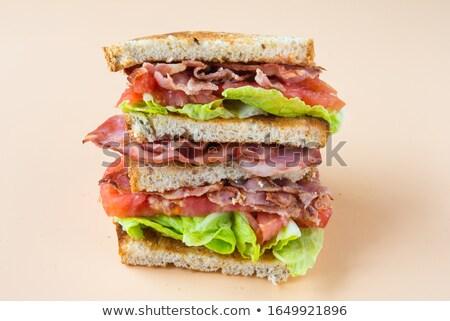 domuz · pastırması · marul · domates · sandviç · patates · kızartması · kola - stok fotoğraf © bendicks