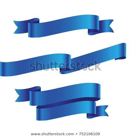 Paper label with ribbons on blue background stock photo © AnnaVolkova