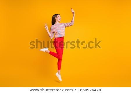 フライ ジャンプ 少女 冬 手 笑顔 ストックフォト © Paha_L