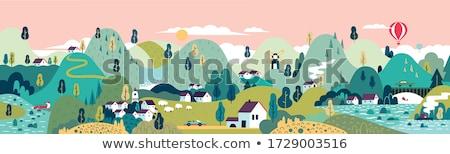 village and mountain stock photo © witthaya