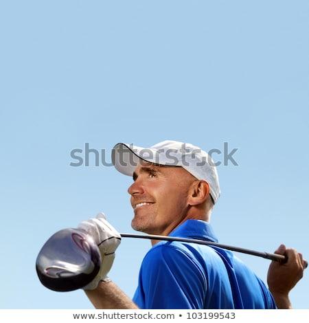 Adam golf kulüp omuz yalıtılmış beyaz Stok fotoğraf © jacojvr