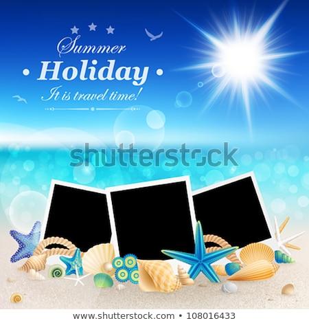 tropical photo frame in style scrapbooking vector illustration stock photo © carodi