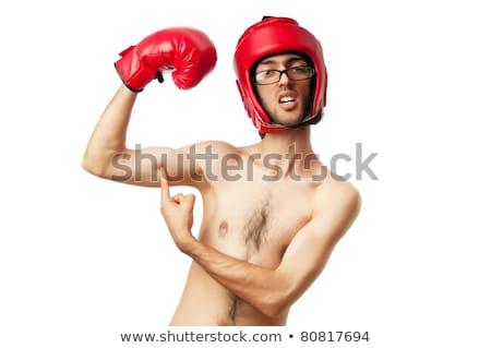 Debole magro arrabbiato uomo lotta cartoon Foto d'archivio © blamb