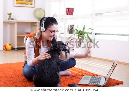 lány · headset · laptop · beszél · skype · gyönyörű · lány - stock fotó © gromovataya