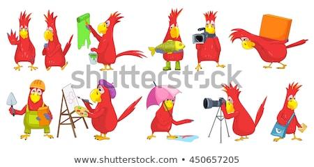 vicces · papagáj · házhozszállítás · rajzfilmfigura · izolált · fehér - stock fotó © RAStudio