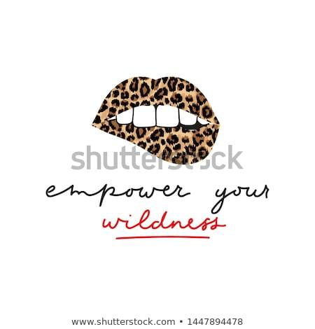ストックフォト: 印刷 · 唇 · 孤立した · 白 · 少女 · モデル