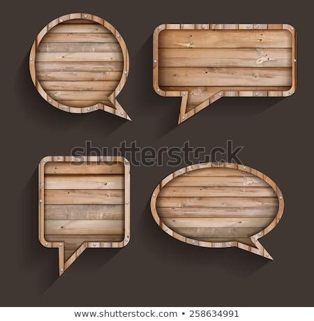 retro wooden speech bubble stock photo © cienpies