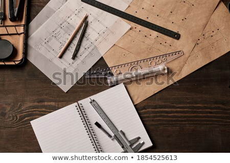 Stock photo: Blueprint, basket, ruler and pencil