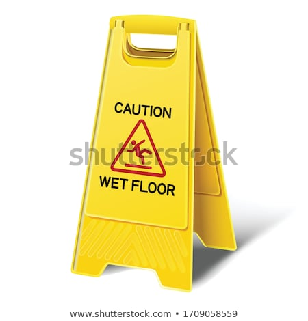 'Caution - Wet Floor' sign on tiled floor, with clipping path Stock photo © sidewaysdesign