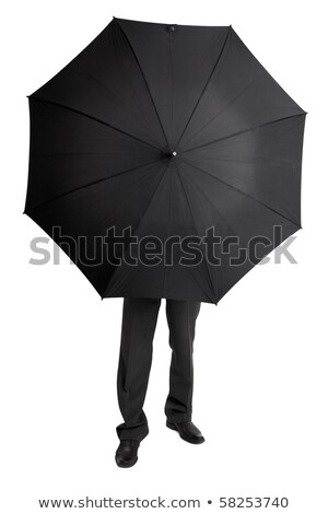 Man hid behind large black umbrella Stock photo © pzaxe
