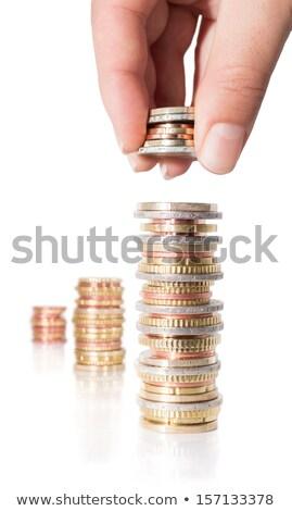 Kéz gyűlés érme háttér fém piac Stock fotó © shutswis