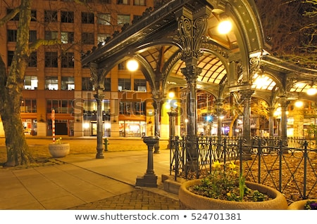 Pioneer square in Seattle at early spring night. Empty street. Stock photo © iriana88w