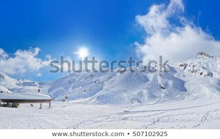 sí · üdülőhely · tél · utazás · hegyek · kék · ég - stock fotó © arturasker
