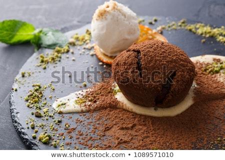 brownie with orange and custard Stock photo © M-studio