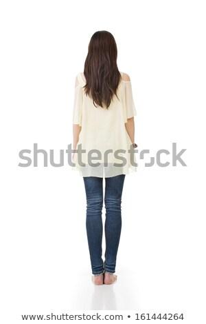 背面図 · 若い女性 · 立って · 麦畑 · フィールド · 小麦 - ストックフォト © szefei