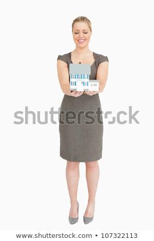 деловая · женщина · модель · дома · рук · белый - Сток-фото © wavebreak_media
