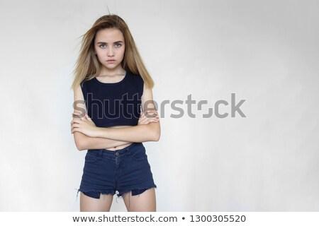 портрет красивой брюнетка пирсинга женщину девушки Сток-фото © gsermek