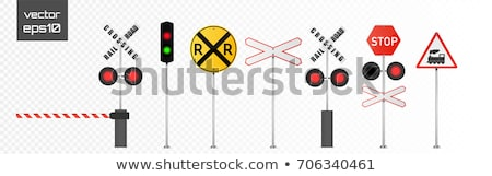 Old rails and traffic lights Stock photo © ABBPhoto
