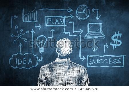 Business plan krijttekening persoon tekening wijzend Stockfoto © kbuntu