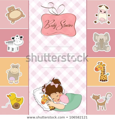 childish baby girl announcement card with hippo toy Stock photo © balasoiu