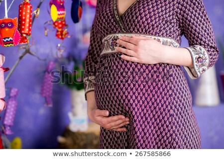 retrato · belo · mulher · grávida · florescimento · primavera · vestido · vermelho - foto stock © discovod