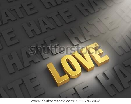 sevmek · nefret · spot · parlak · altın · karanlık - stok fotoğraf © 3mc
