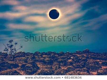 Solar corona with green beam. Stock photo © dvarg