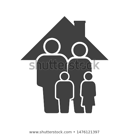 family under one roof vector icon stock photo © lordalea