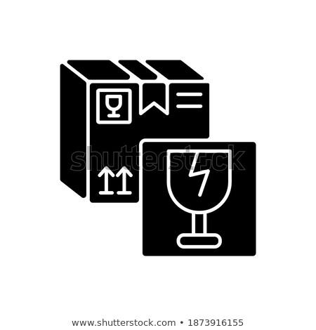 Stock foto: Fragile · Inhalt · Weinglas · braun · Geschenkpapier · Warnung