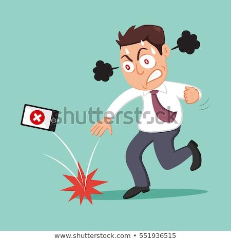 Wściekły człowiek telefonu strony telefon reklamy Zdjęcia stock © photography33