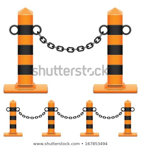 Mooring Bollard with chain on pier Stock photo © ultrapro