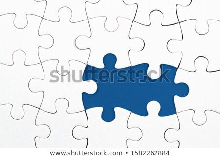 Oplossing puzzelstukjes Blauw ontwerp witte tekst Stockfoto © marinini