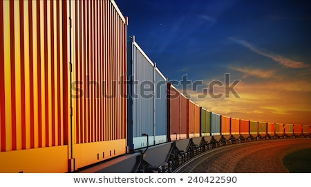 Railroad waggon in speed at sunset Stock photo © meinzahn
