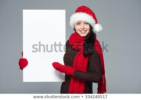 女性 クリスマス 帽子 ブランクカード 美人 ストックフォト © jaykayl