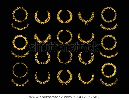floral laurel wreath vector set stock photo © beaubelle