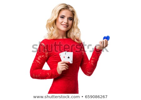 Poker blond sexy vrouw meisje haren Stockfoto © Alessandra