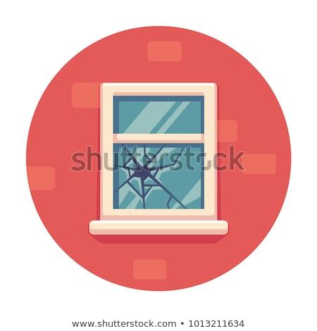 Stockfoto: Baksteen · gebroken · glas · geweld · geïsoleerd · witte · muur