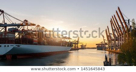sunset in the port of hamburg stock photo © elxeneize