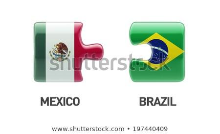 Stock fotó: Brazília · Mexikó · zászlók · puzzle · izolált · fehér