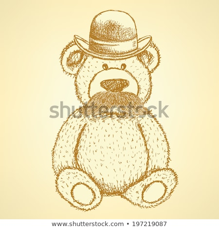 sketch teddy bear in hat with mustache vector background stock photo © kali