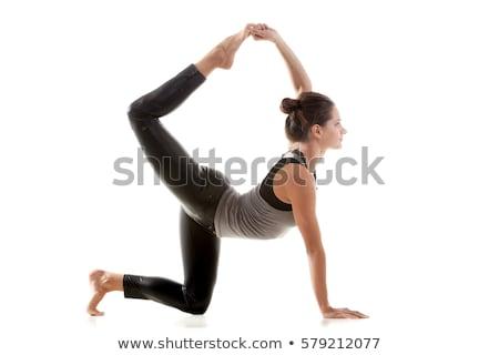 giovani · bella · donna · yoga · posa · isolato · grigio - foto d'archivio © nejron