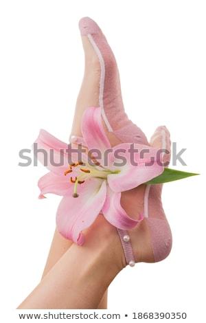 Stok fotoğraf: Kadın · bacaklar · pembe · zambak · yalıtılmış · beyaz