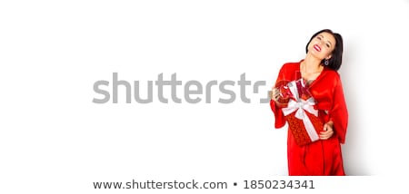 menina · encantador · flertar · isolado · branco · mulheres - foto stock © 26kot