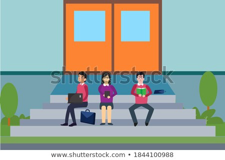 cartoon young woman sitting on the stairs holding books stock photo © zebra-finch