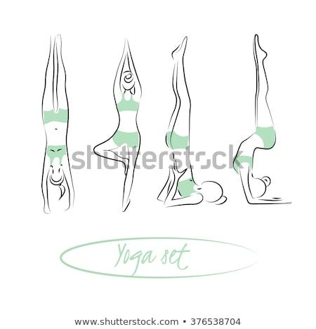 yoga · vector · ingesteld · meisje · lichaam · haren - stockfoto © leonido