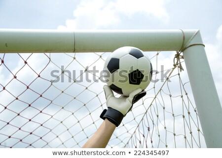 Kapus használt kezek labda gyufa játék Stock fotó © hin255