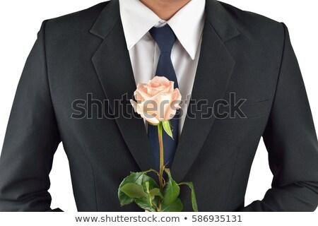 öltöny tart rózsa modell haj szemüveg Stock fotó © feelphotoart