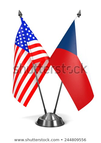 USA Repubblica Ceca miniatura bandiere isolato bianco Foto d'archivio © tashatuvango